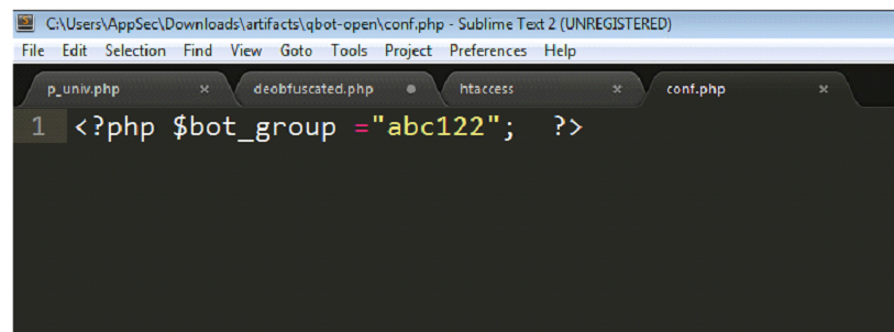 """The bot group (""""abc122"""") shown in conf.php."""