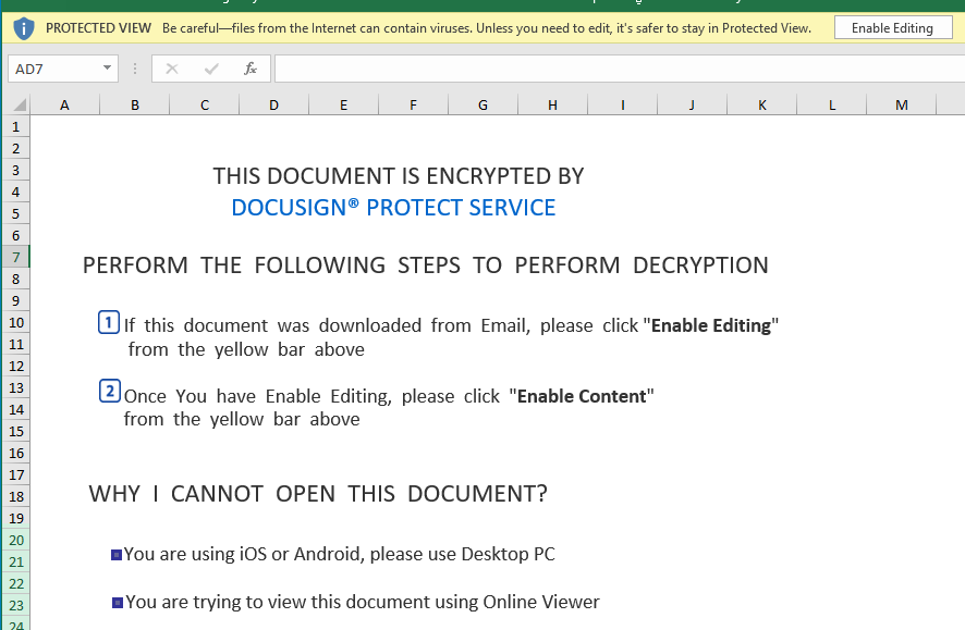 opening malicious Excel document